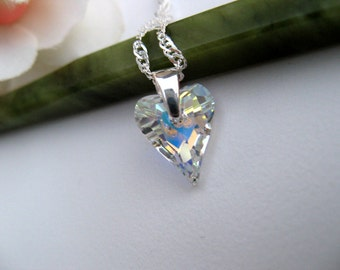 Sale - Swarovski Crystal Necklace, Sterling Silver Jewelry, AB Crystal Heart Jewelry