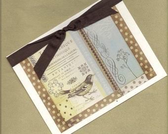 French Bird Collage All Occasion Handmade Greeting Card PSS 1536