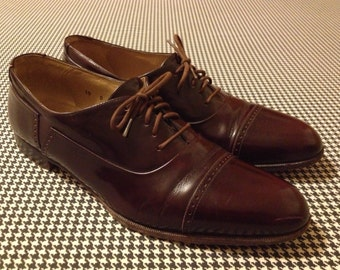 "1980's, Men's ""Marconi""  shoes, in espresso leather, made in Italy by Bally, size 10 D"