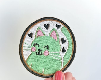 Cat lover gift. Jacket patch. Art patch. Cat patch iron on. Cartoon Cat. Backpack patch. Gifts under 10. Kitten patch