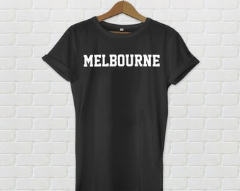 Melbourne Varsity Style T-Shirt - Black