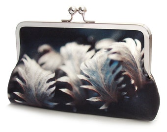 Silver leaves clutch bag, silk purse, leaf print bag, indigo, blue grey, woodland wedding