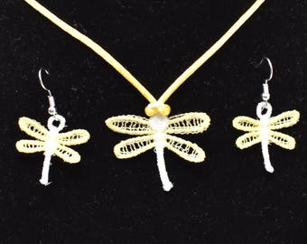 Dragonfly Pendant and Earrings