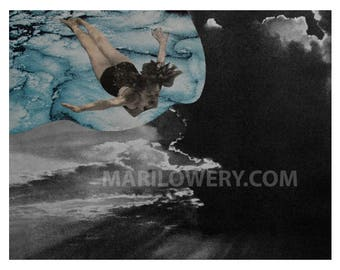 Surreal Art Paper Collage Print, 11 x 8.5 Inch Retro Cloud Diving Art Wall Decor, Swimmer Gift