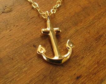 Anchor necklace, gold anchor necklace, nautical necklace, gold filled 14k, anchor charm, anchor pendant, tiny necklace gift