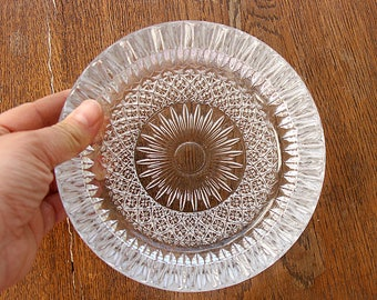 Vintage crystal glass plate Ornate clear glass dish Round large ashtray plate Trinket dish Candy dish