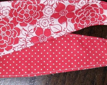 Red Floral & Polka Dots Reversible Adult/Teen Headband