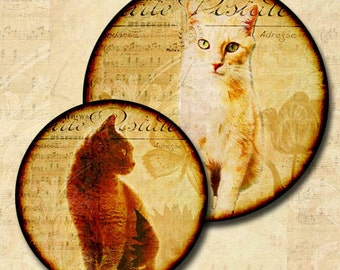 Rescued Cats Digital Collage 1.5 Inch and 1.25 Inch Round Circle Images Help Rescued Cats