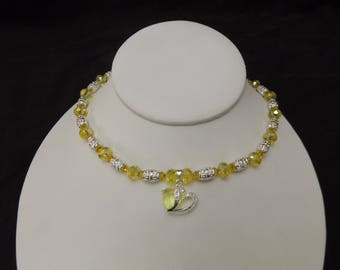 Silver Heart Pendant with Yellow Accented Beaded Necklace