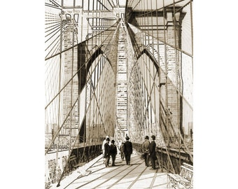 Photo Art from a Vintage Photograph ~ Vintage photo of the Brooklyn Bridge ~ Digital download print of an art photograph of Brooklyn Bridge