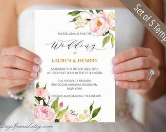 Floral Wedding Templates Printable Wedding Invite Instant