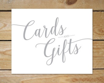 Printable Cards and Gifts Sign // Silver Wedding Decor // Grey Cards and Gifts Wedding Sign, Instant Download