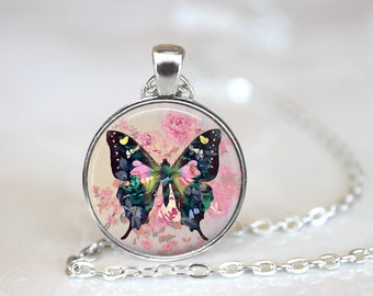 Butterfly and Roses Necklace, Butterfly Necklace, Butterfly Jewelry