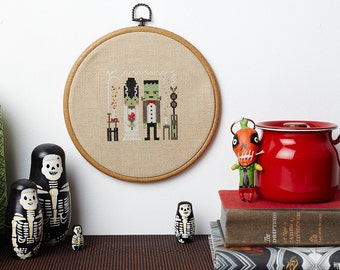 Fran and Frankie modern cross stitch pattern Frankenstien themed PDF download - includes chart and instructions