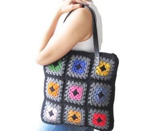 Granny Sguare Afghan Colorful Croched Handbag With Leader Handles - Orange Brown Ecru