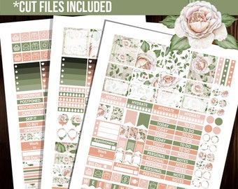 Printable Erin Condren planner stickers, Weekly kit, Cut files, Floral stickers, Fits Erin Condren horizontal planner - STH001