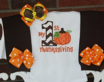 Baby Girl My 1st Thanksgiving Outfit/ First Thanksgiving outfit for baby girl/ Thanksgiving pumpkin outfit/Girls First Thanksgiving/Pumpkin