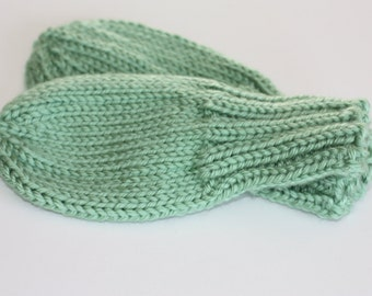 Knit Baby Mittens - Sage Green Hand Knit Thumbless No-Scratch Mittens - Toddler Mitts - Baby Mittens with String - 6 Months, 12-18 Months