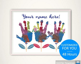Personalized Handprint - PRINTABLE Personalized Gift, CUSTOM Handprint Art, Gift from Kids, Gift from Grandkids, DIY Gift Idea, Hand Print