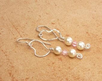 Handmade Earrings Argentium Sterling silver earrings, pearl earrings, sterling silver dangle earrings, Sterling silver jewelry