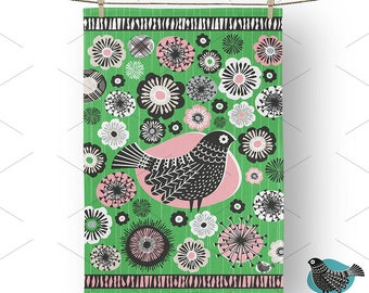 100% Cotton Tea Towel Green & Pink Folk Bird, Mother's Day, Gift, Hanging loop