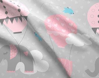 Pink Elephants Fabric - Hot Air Balloon Elephants On Gray By Jenniferfranklin - Nursery Decor Cotton Fabric By The Yard With Spoonflower