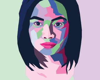 Pop Art Portrait, 4 Color Custom Printable Digital Illustration