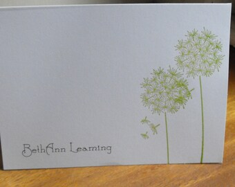 Dandelion personalized notecard set