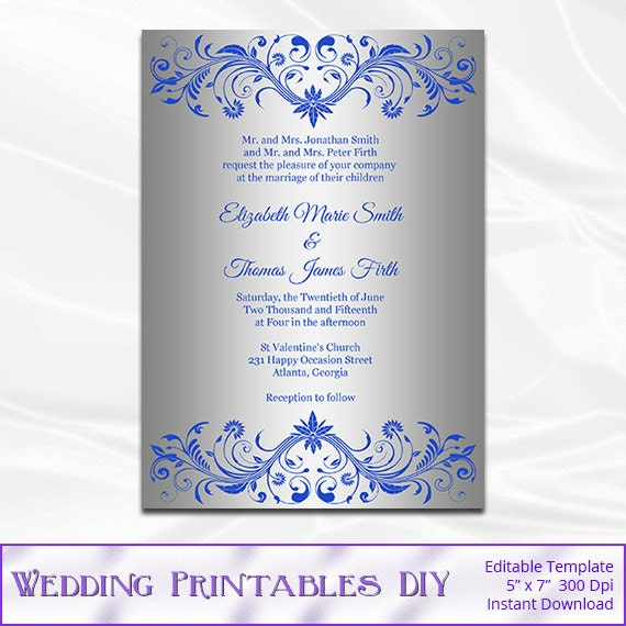 Royal Blue And Silver Wedding Invitation Template Diy Foil Shower Invites Printable Editable Text Instant Download Pdf Word P113
