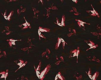 1 yard of Chiffon Fabric, Indian Polyester Fabric, Crane Chiffon Fabric, Black Fabric, Shibori Fabric