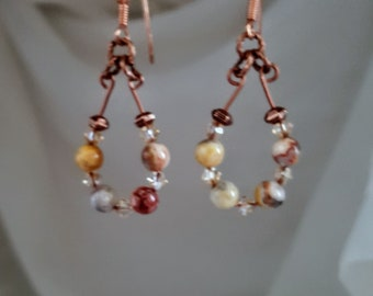Boho Copper Wire With Crazy Lace Agate and Swarovski Crystal Earrings