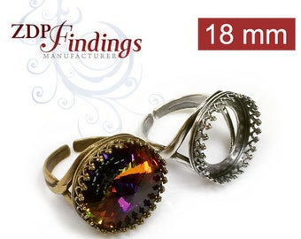 4pcs x Round 18mm Quality Cast Crown Bezel Cup Adjustable Ring Setting, Choose your Finish (8808V)