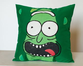 Pickle handpainted decorative pillow,  decorative cushion, throw pillow, 14x14 in