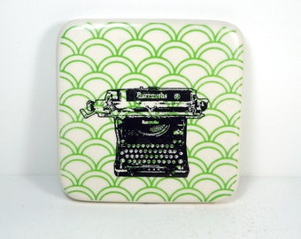 tile with green scallops and a Burroughs typewriter print. ready to ship