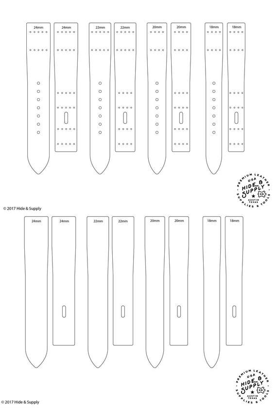 Watch Strap Band Template Pattern Guide Set - 18mm 20mm 22mm 24mm ...
