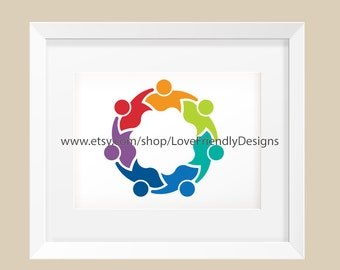 Clip Art to Print or Web People Logo Seven Persons in Circle. Concept for a Children Nursery, Lovely Kids, Friendship, Teamwork, Family