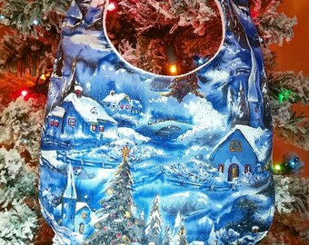 Sparkly Winter Wonderland Christmas Baby Bib Bibdana