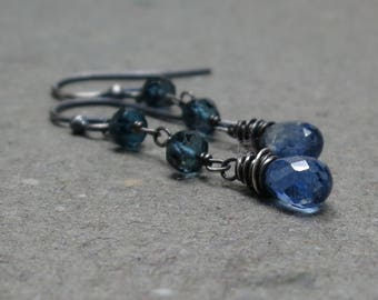Blue Kyanite Earrings London Blue Topaz Long Dangle Gemstones Oxidized Sterling Silver Gift for Mom