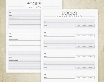 Books I've Read Printable PDF, Books I Want to Read Form, Book List, Book Log, Book Tracker, A4, Letter, Digital File, Instant Download