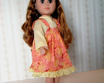 "School Dress, Jumper for American Girl Style Doll Clothes 18"" Doll Outfit with Bright Pink Butterflies on an Orange & Yellow Background"