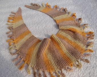 Multikolor Drops Scarf/Shawlette, Knit Wool Scarf, Hand Knit Striped Shawl, Women Gift