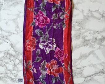 1970s Oscar De La Renta silk scarf | rose print silk scarf