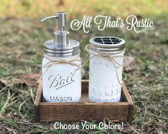 Stainless Steel Soap Dispenser, Bathroom Decor, Soap Dispenser, Mason Jar Decor, Toothbrush Holder, Mason Jar Bathroom Decor, Rustic Decor