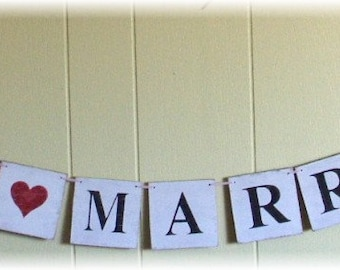 Just Married! Wedding Banner Garland With Red Heart Shabby Chic White Wood Tiles Custom Colors Photo Prop