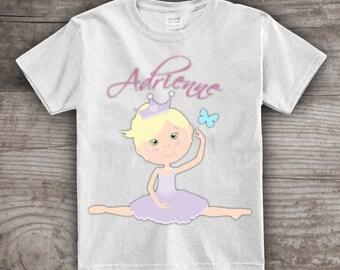 Ballerina shirt dance t-shirt girls personalized ballet theme birthday tutu girl- a481_3