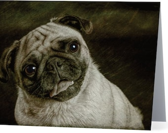 Pug - blank note card, Gifts for dog lovers, Gifts for dog people, Cards for dog people, Dog cards