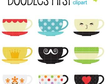 Cute Tea Cups Digital Clip Art for Scrapbooking Card Making Cupcake Toppers Paper Crafts