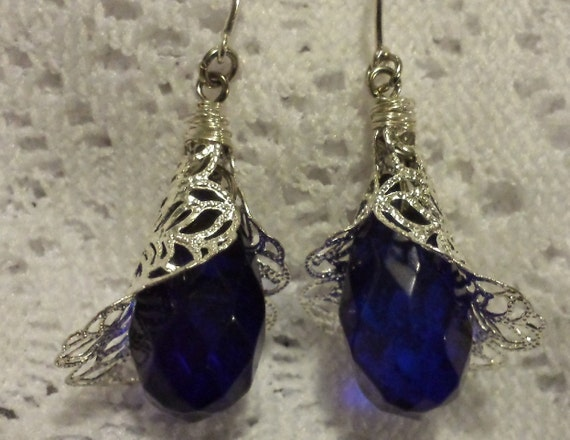 Cobalt Blue Earrings with Silver Lace caps