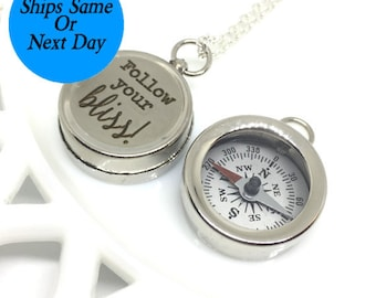 Engraved Compass Necklace, Silver Compass Necklace, Engraved Compass, Silver Compass, Follow Your Bliss, Custom Compass, Customized Compass