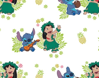Lilo and Stitch Fabric / Ohana in White  Material / Lilo & Stitch Disney Fabric for Camelot 85240101 #3 / By The Yard and Fat Quarters